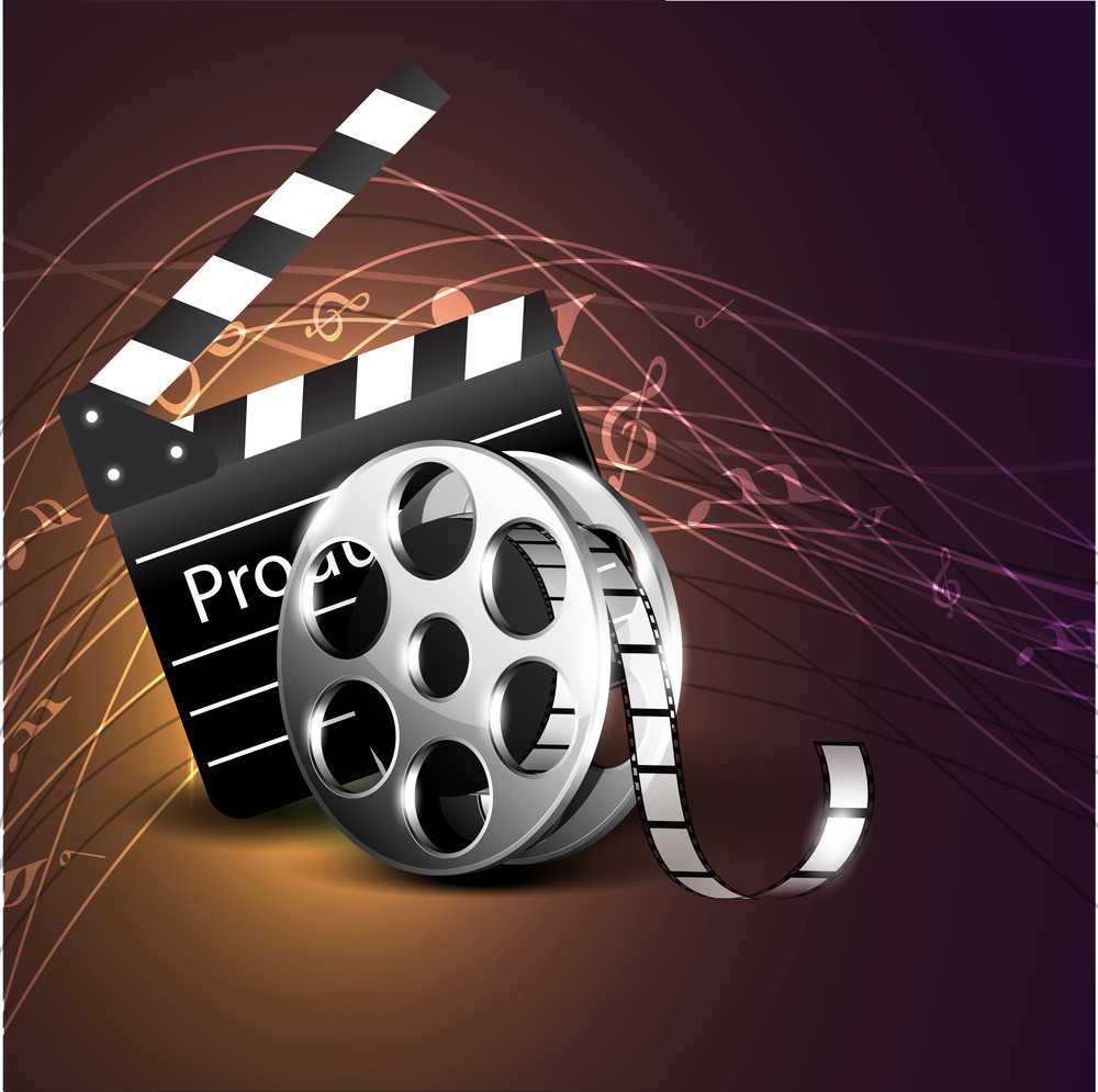 Film Stripe Or Film Reel On Music Notes Background