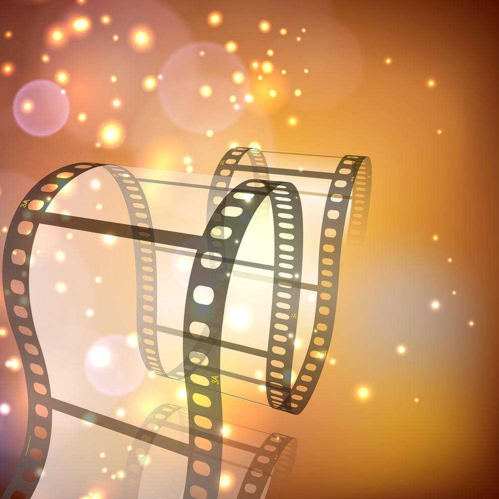Film Stripe Or Film Reel On Shiny Background.