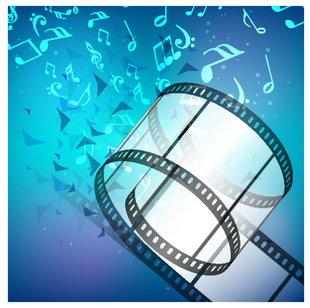 Film Stripe Or Film Reel On Shiny Blue Background And Music Notes.