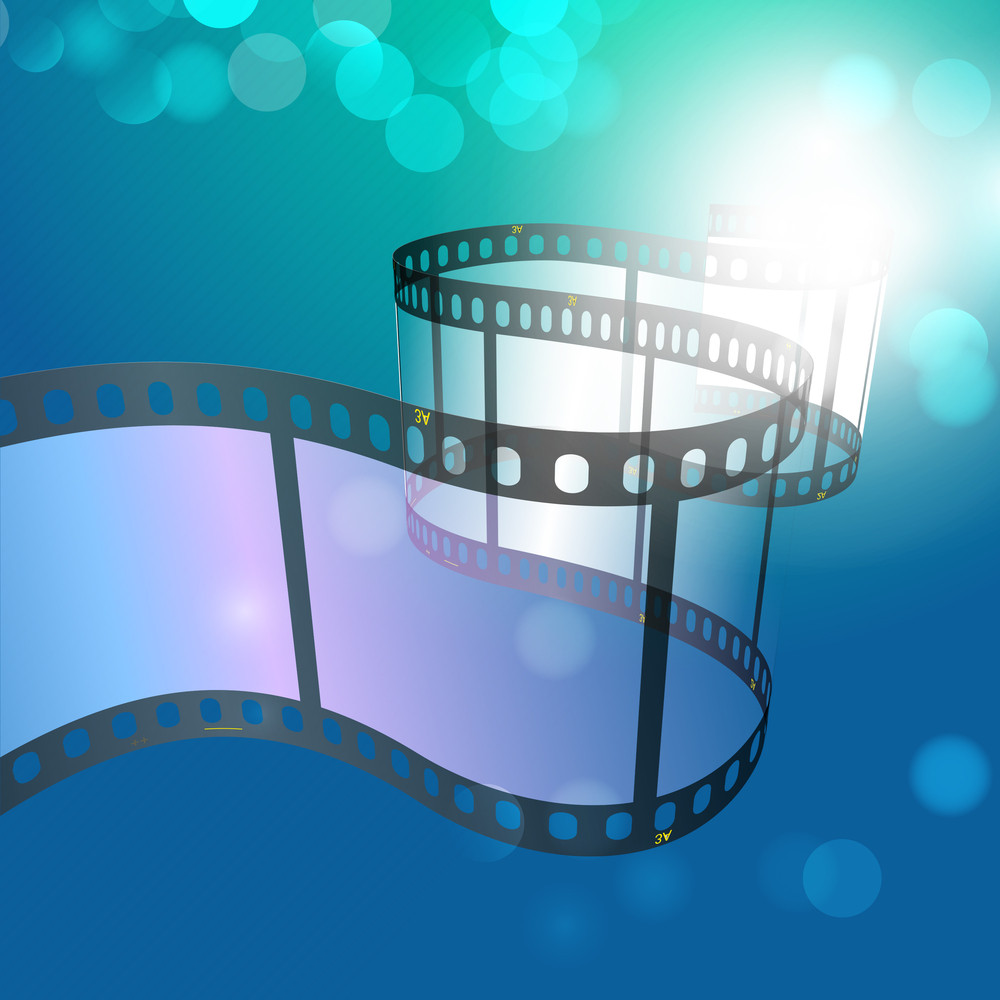 Film Stripe Or Film Reel On Shiny Blue Background.