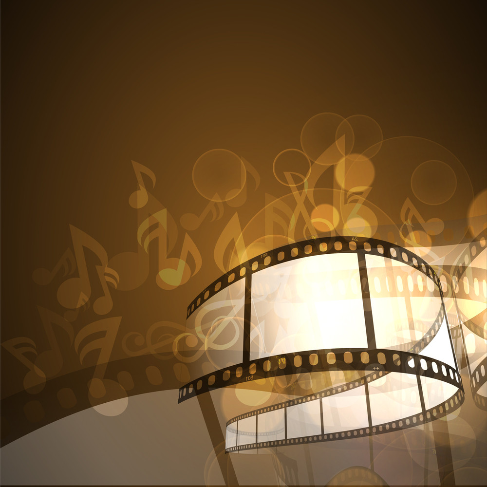 Film Stripe Or Film Reel On Shiny Brown Background And Music Notes.