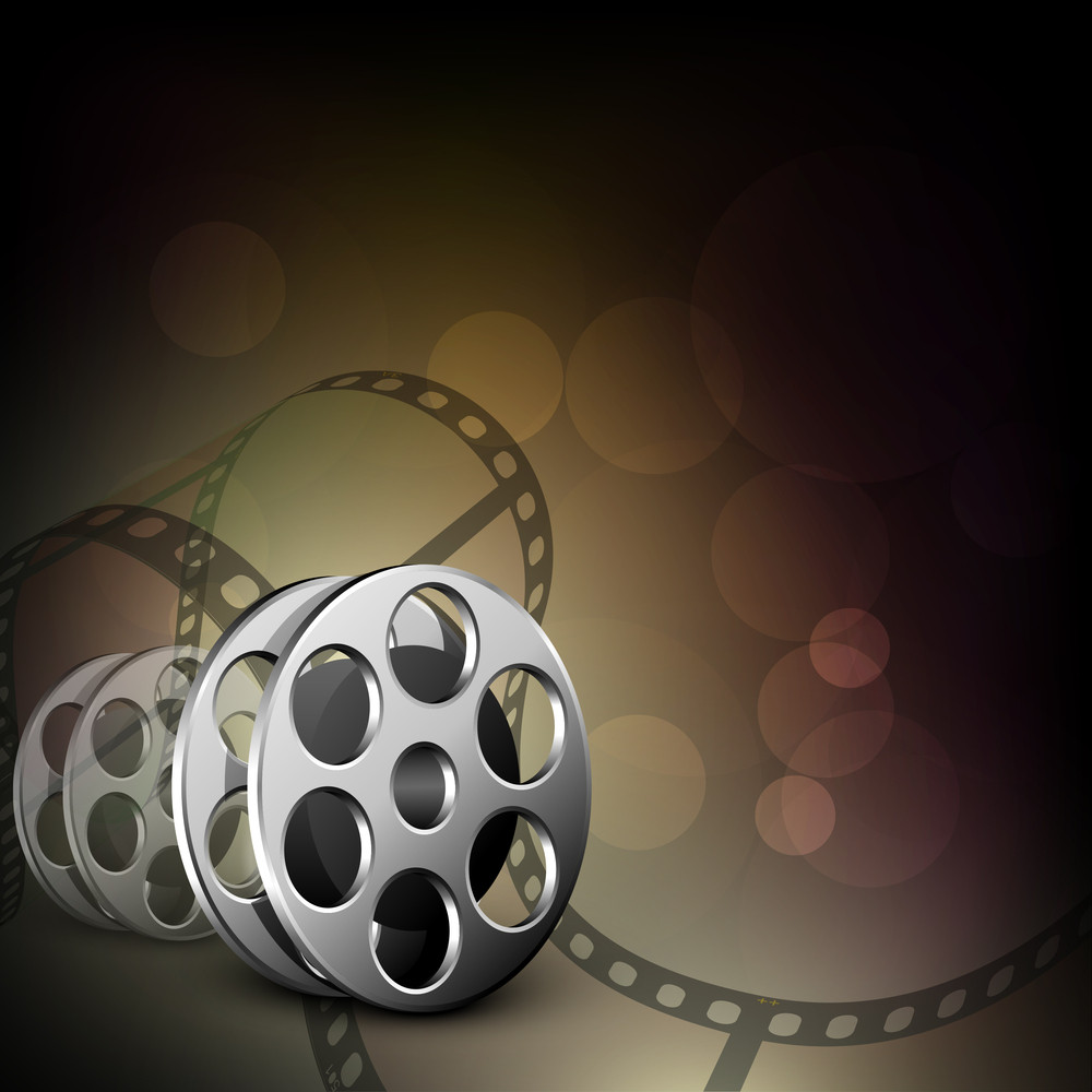 Film Stripe Or Film Reel On Shiny Brown Background.