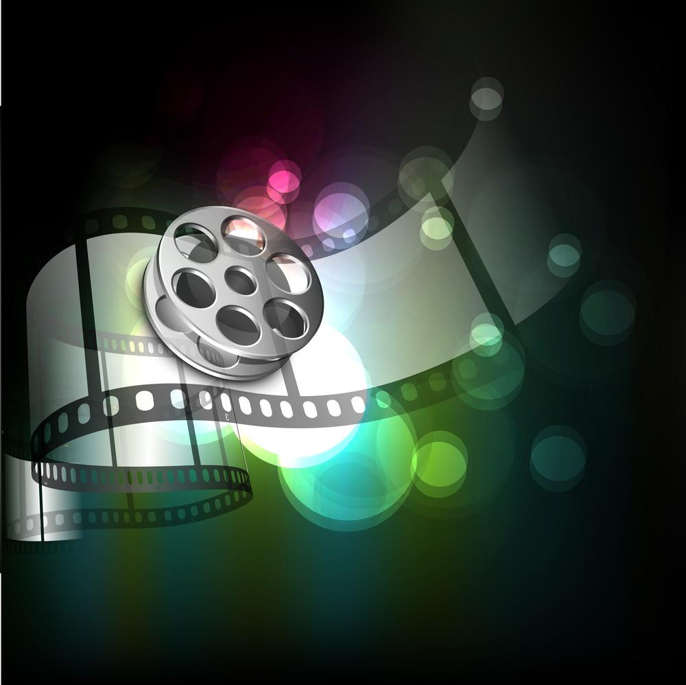 Film Stripe Or Film Reel On Shiny Green Background.