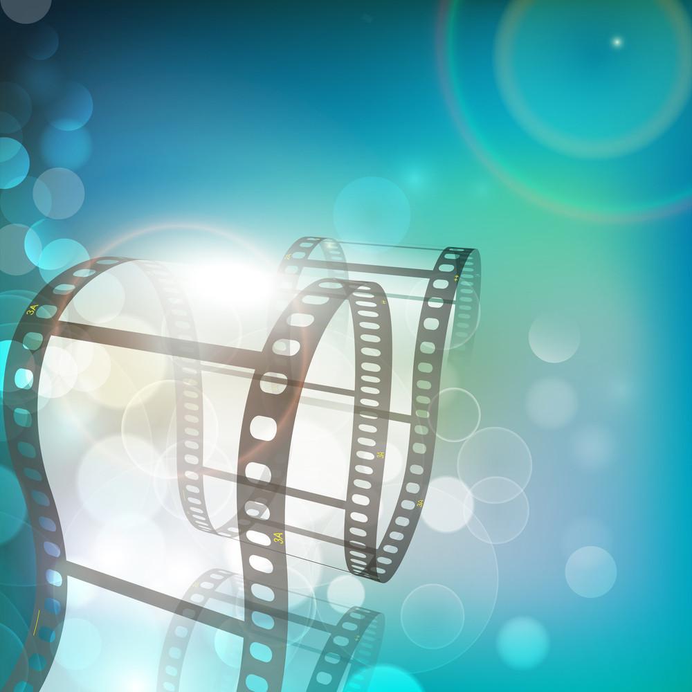 Film Stripe Or Film Reel On Shiny Movie Background 10
