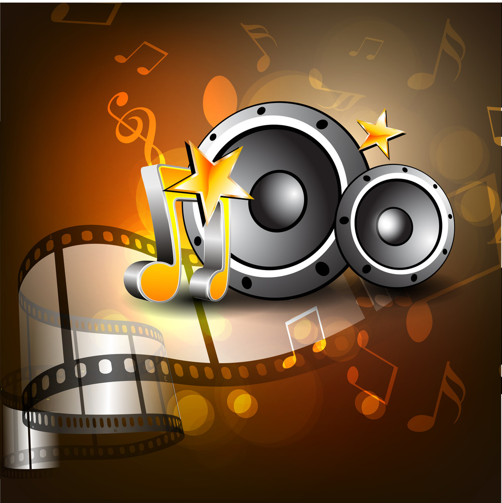 Film Stripe Or Film Reel On Shiny Movie Background With Music Notes And Speakers