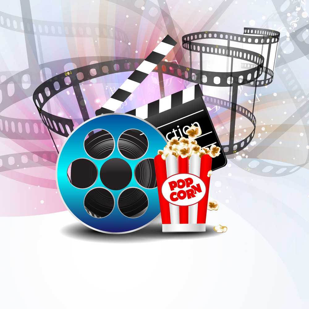 Film Stripe Or Film Reel On Shiny Movie Background