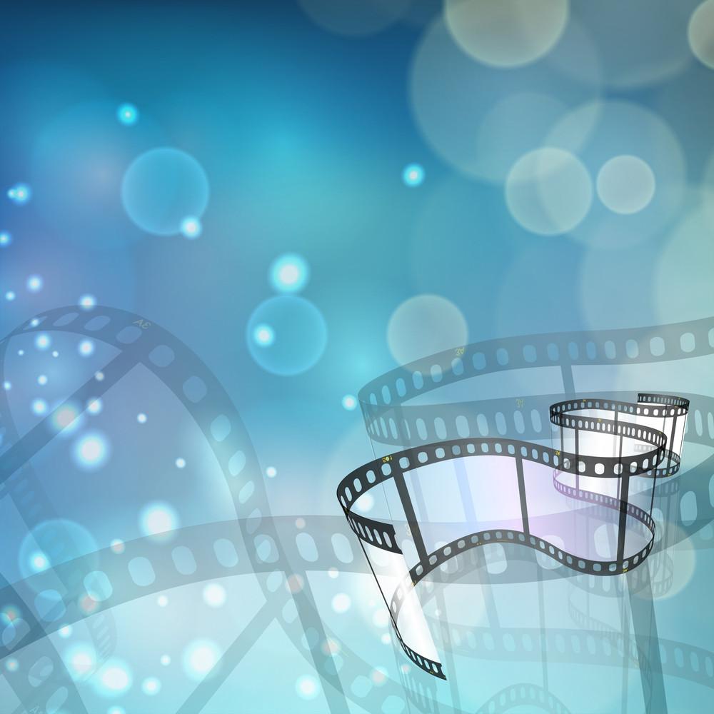 Film Stripe Or Film Reel On Shiny Movie Background.