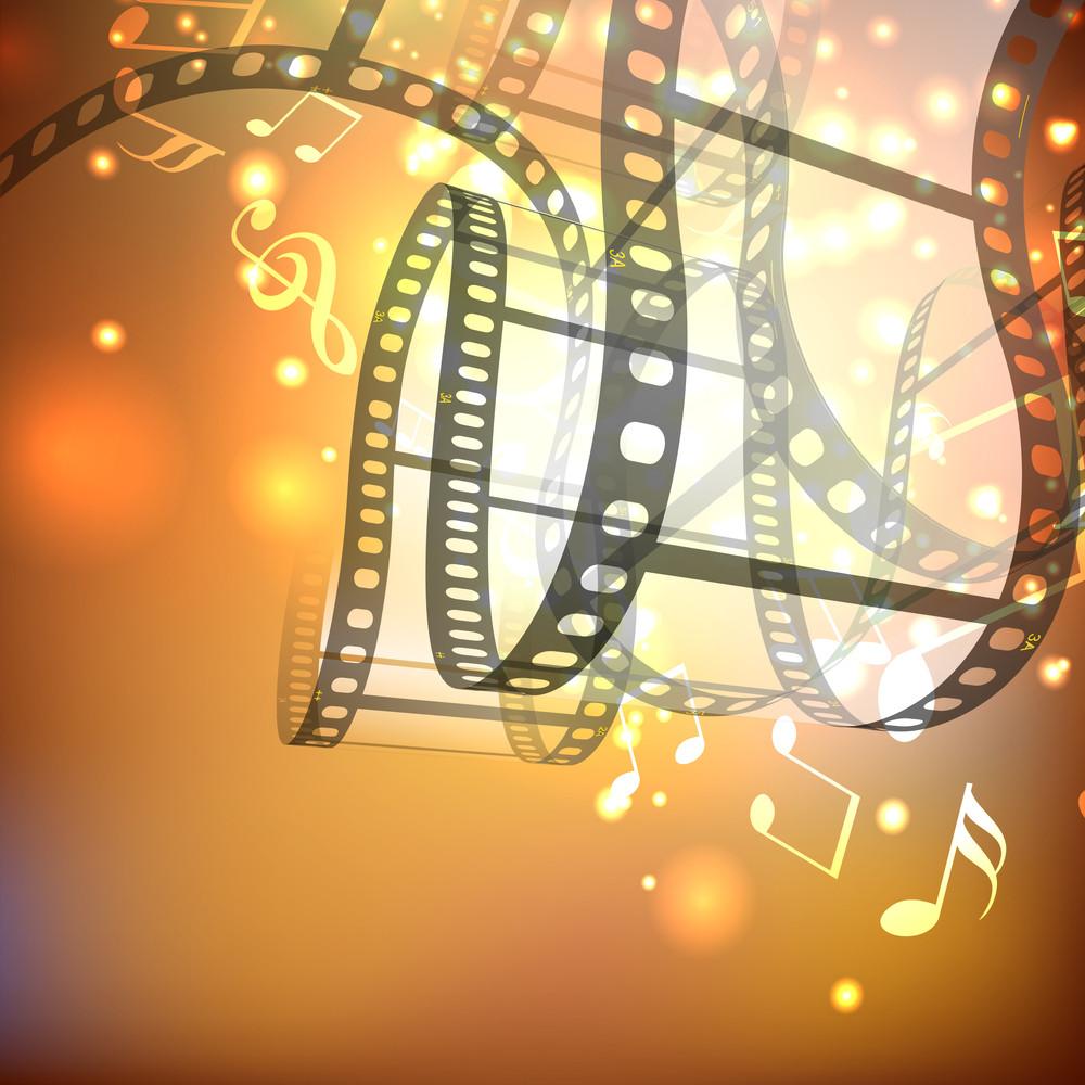 Film Stripe Or Film Reel On Shiny Movie Background .