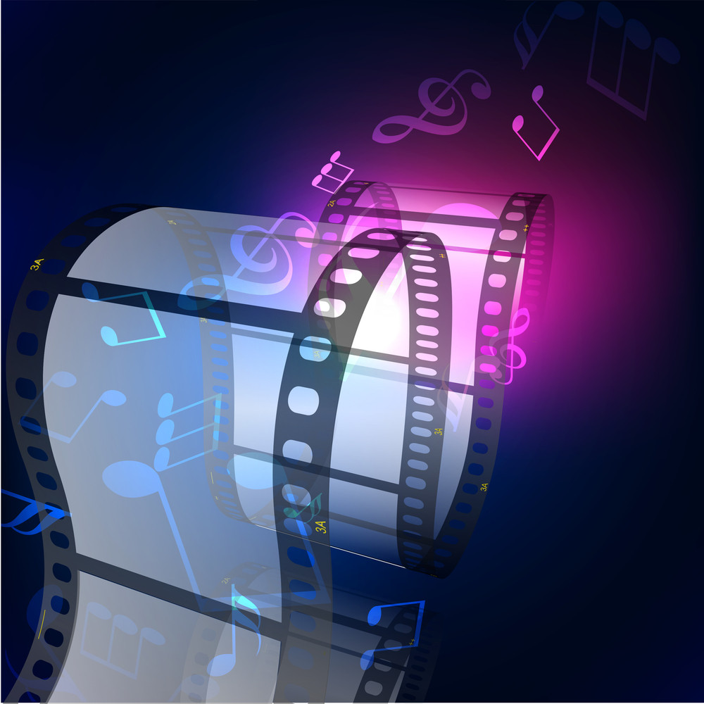 Film Stripe Or Film Reel On Shiny Purple Movie Background.