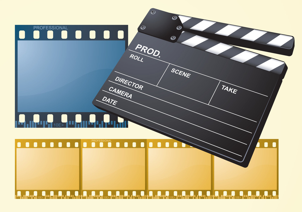 Films And Clapper. Vector.