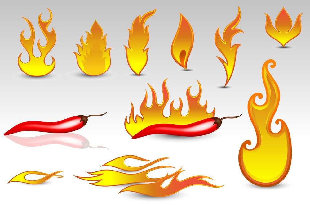 Fire Flames Vectors And Design Icons