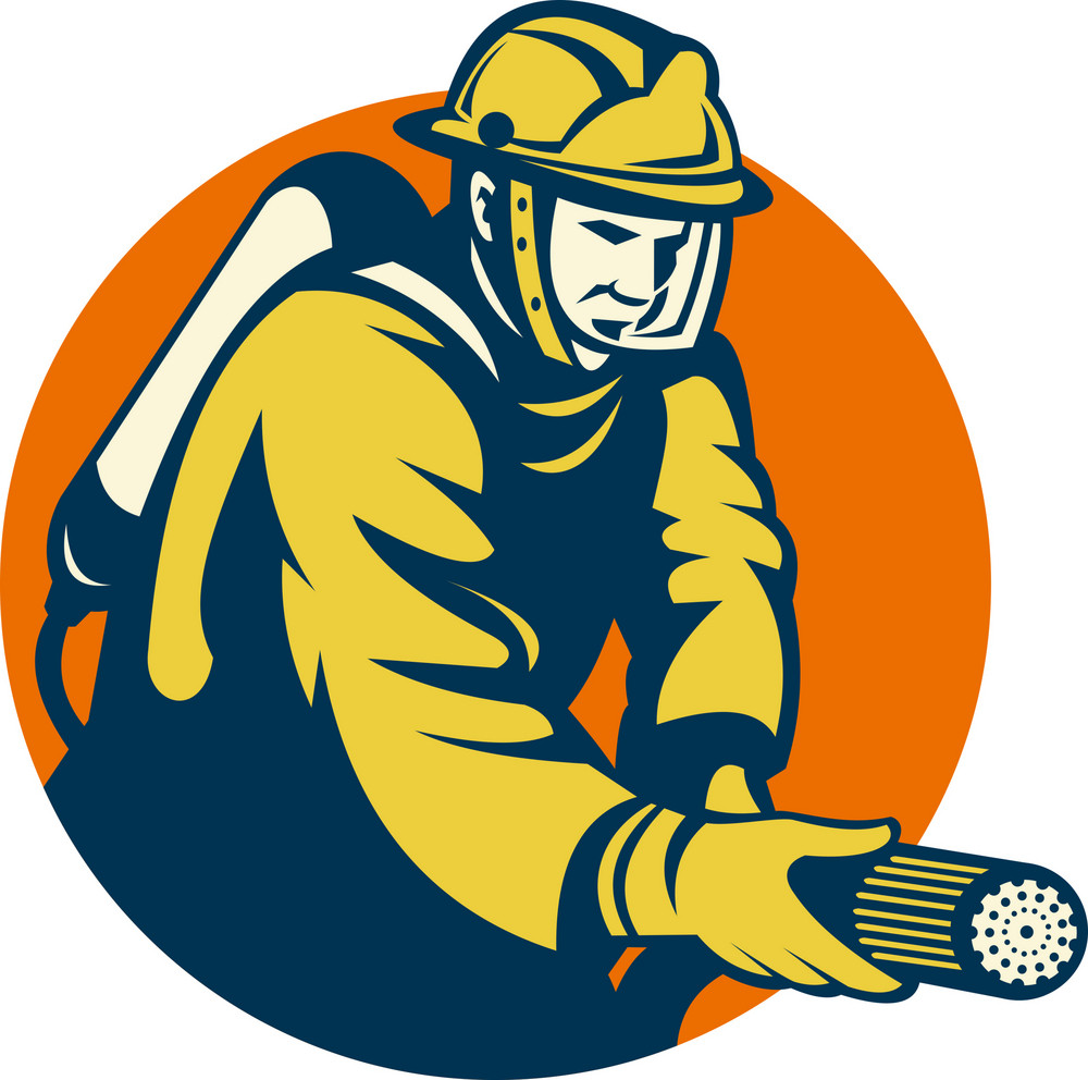 Firefighter Or Fireman Aiming A Fire Hose