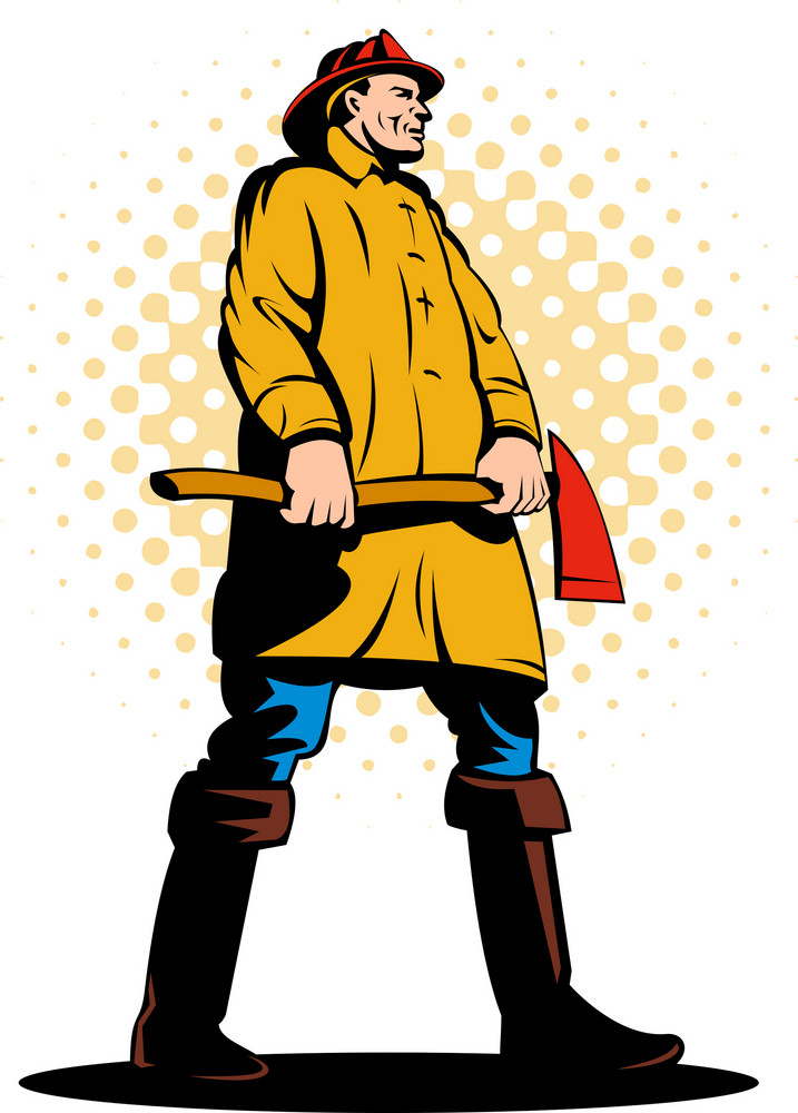 Fireman Fire Fighter Holding An Ax