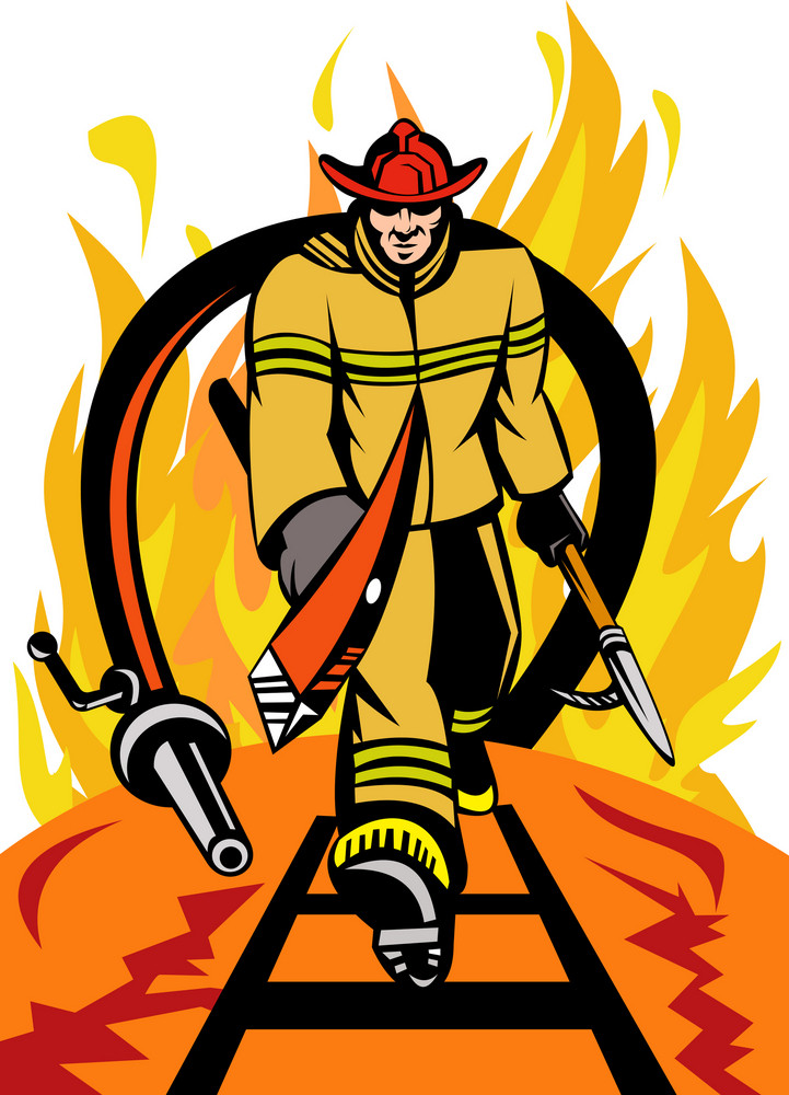 Fireman Fire Fighter With Axe And Spear Hook