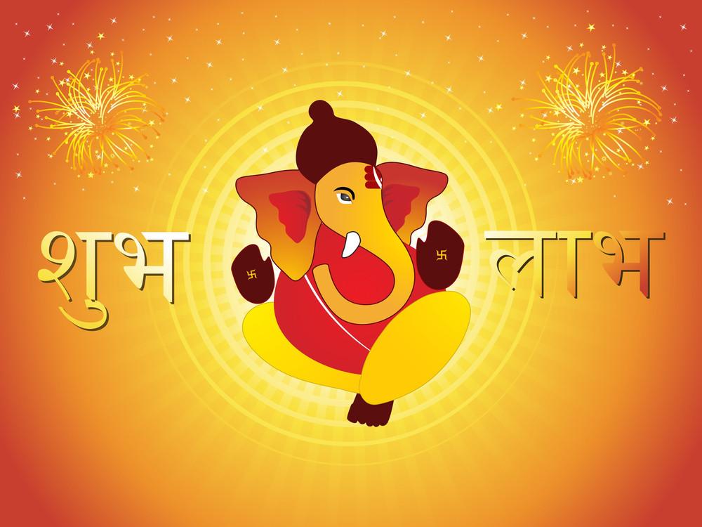 Firework Background With Subh Ganpati