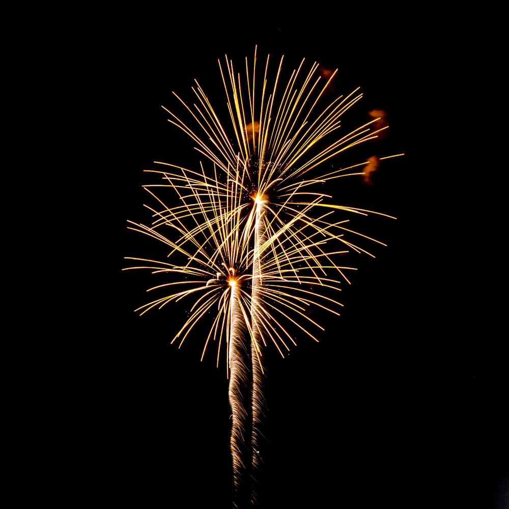 Fireworks isolated on black background