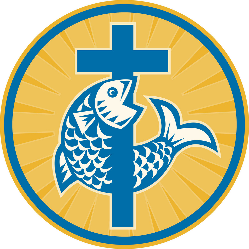 Fish Jumping With Cross Retro