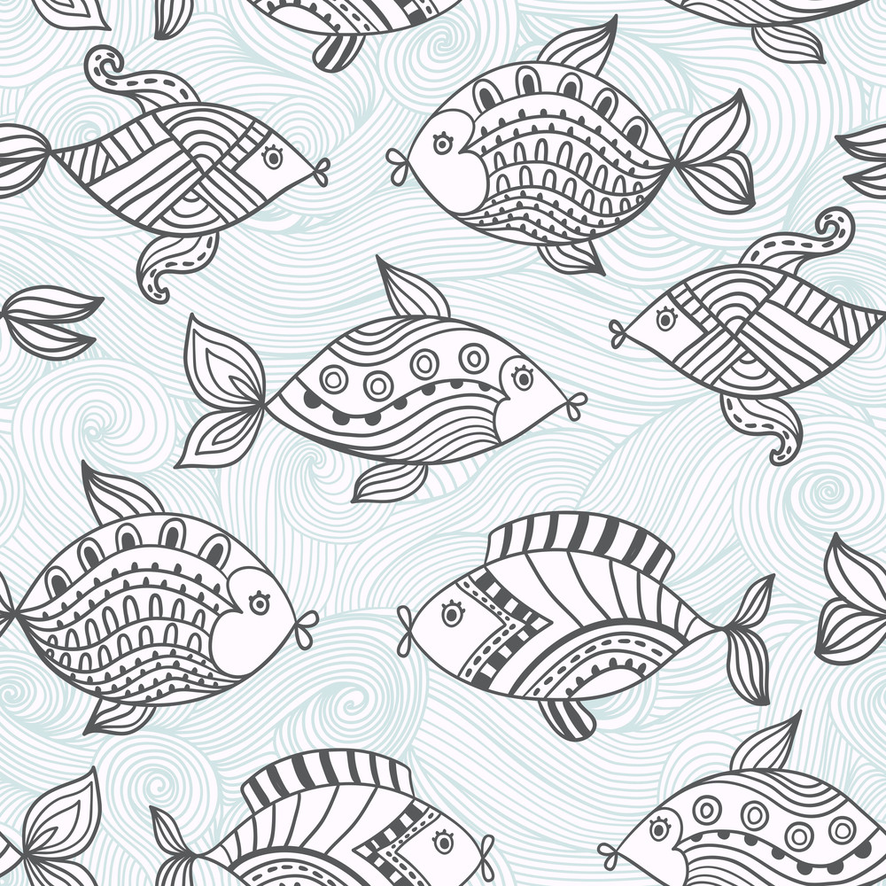 Fish Pattern In Abstract Style.seamless Pattern Can Be Used For Wallpaper