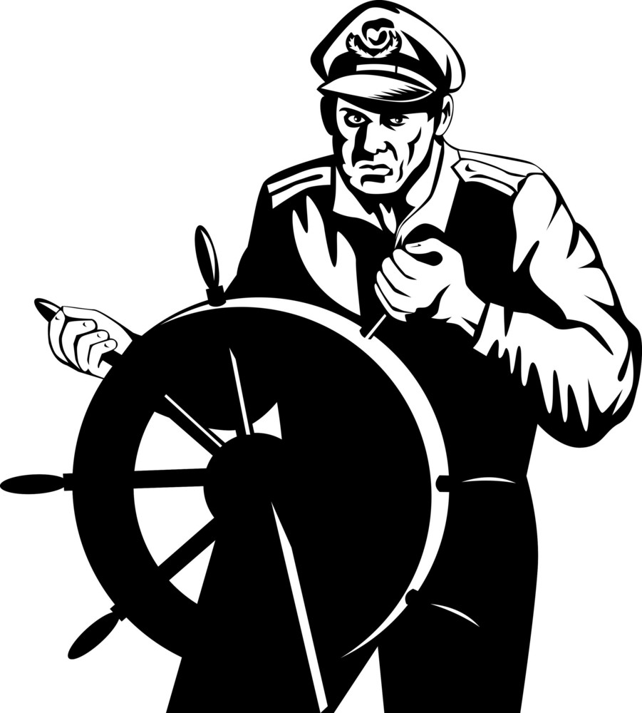 Fisherman Sea Captain At Helm Retro