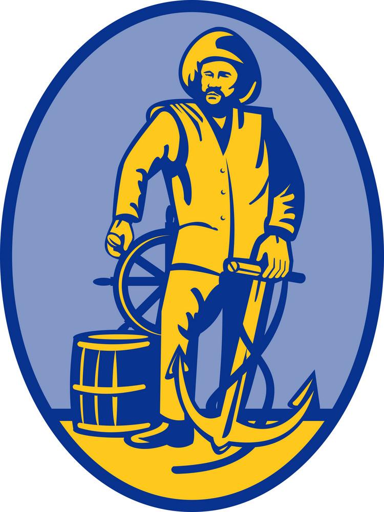 Fisherman Ship Captain At The Wheel