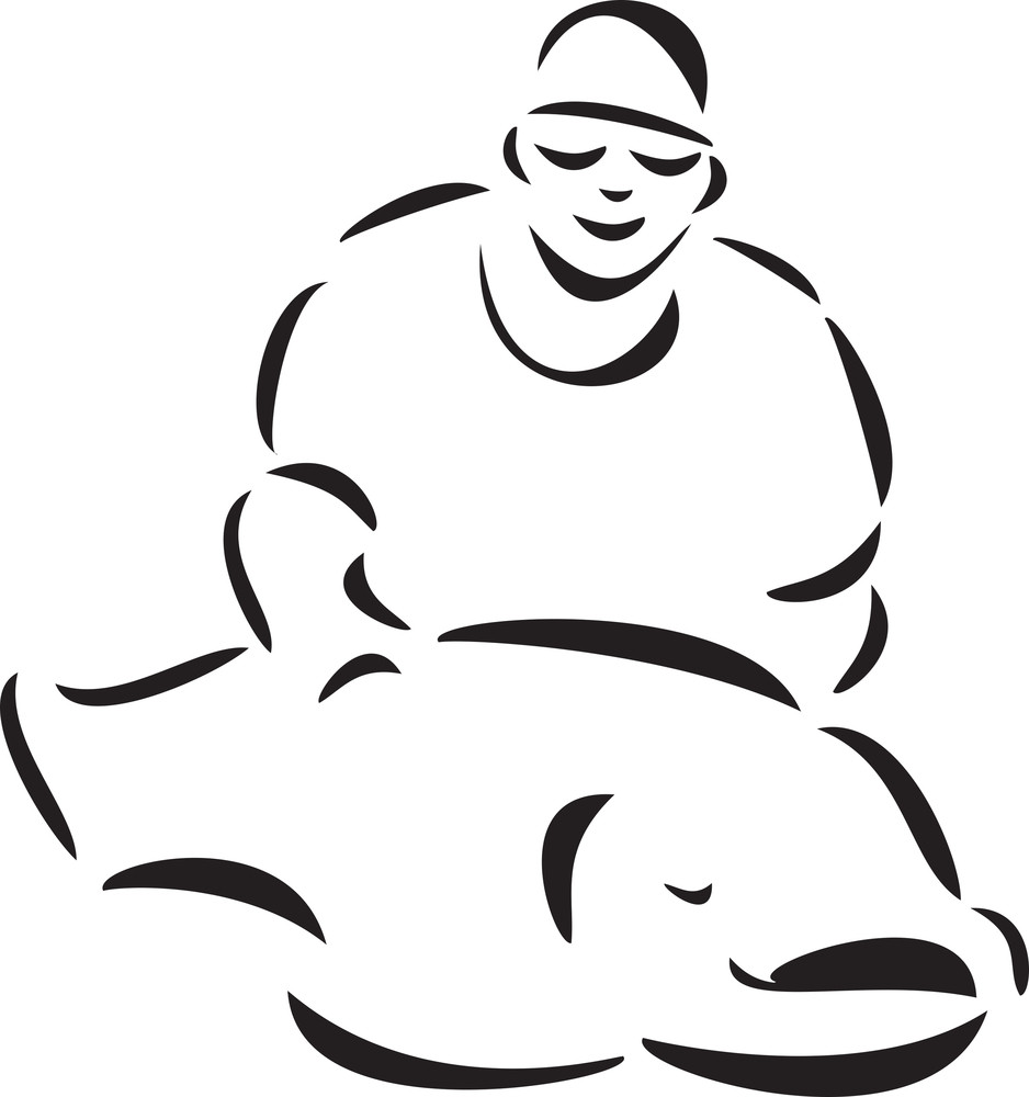Fisherman With A Big Fish.