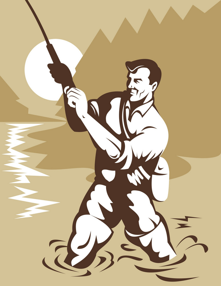 Fisherman With Rod And Reel
