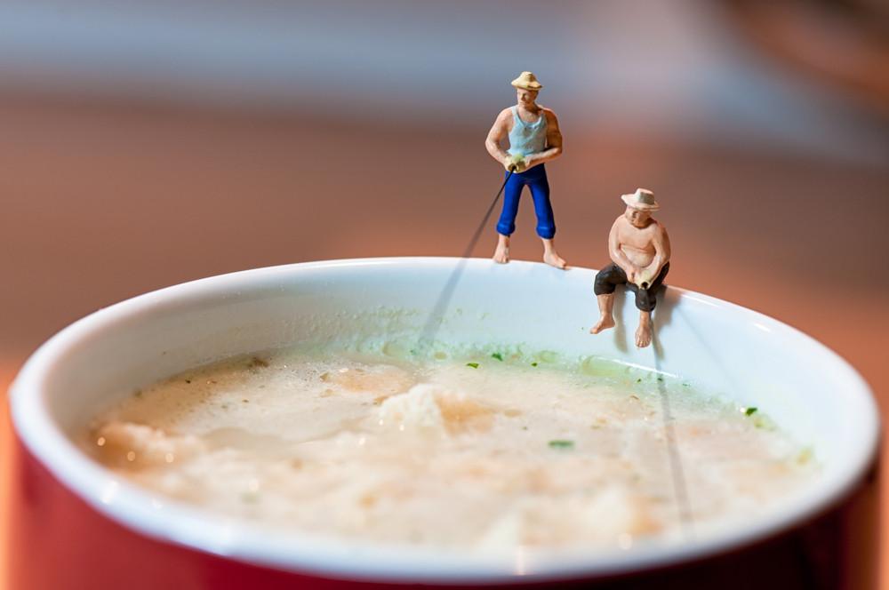 Fishermen Fish In A Soup Mug
