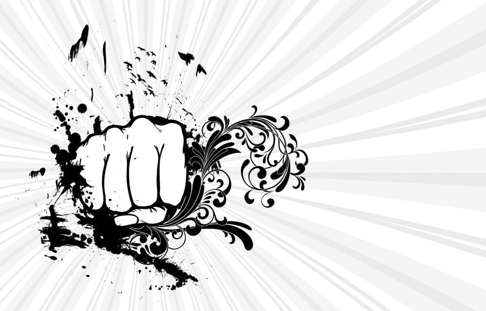 Fist With Floral Vector Illustration