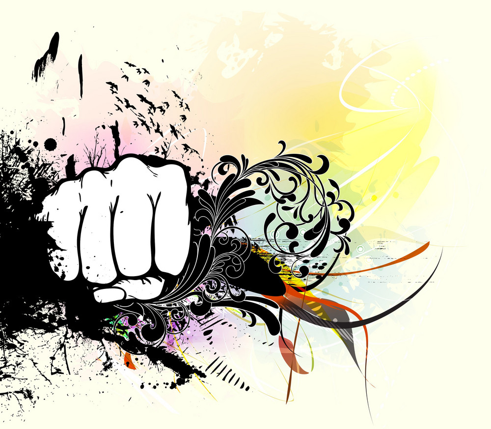 Fist With Grunge Vector Illustration