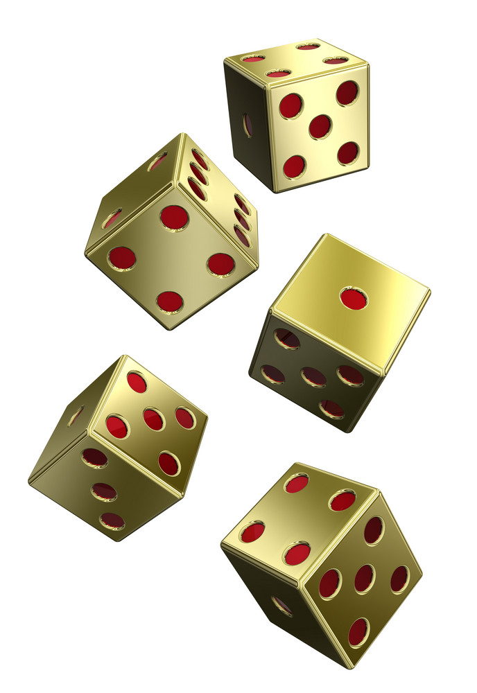Five Gold Dices Isolated On White.