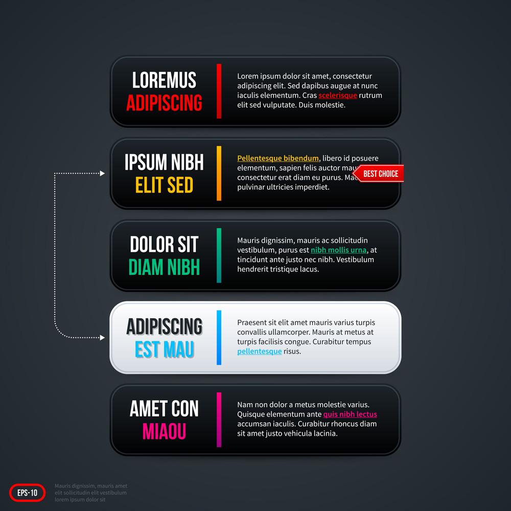Five Horizontal Options For Web. Eps 10