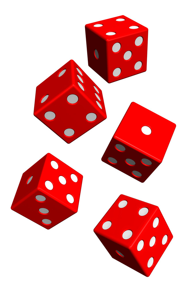 Five Red Dices Isolated On White.