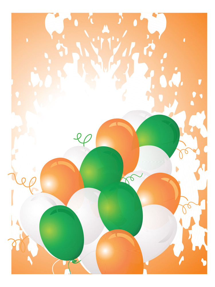 Flag Color Balloons With Grungy Background
