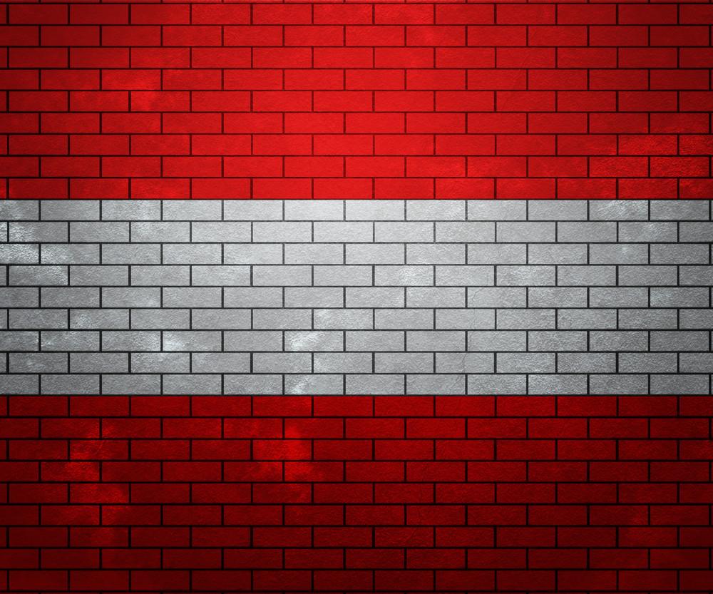 Flag Of Austria On Brick Wall