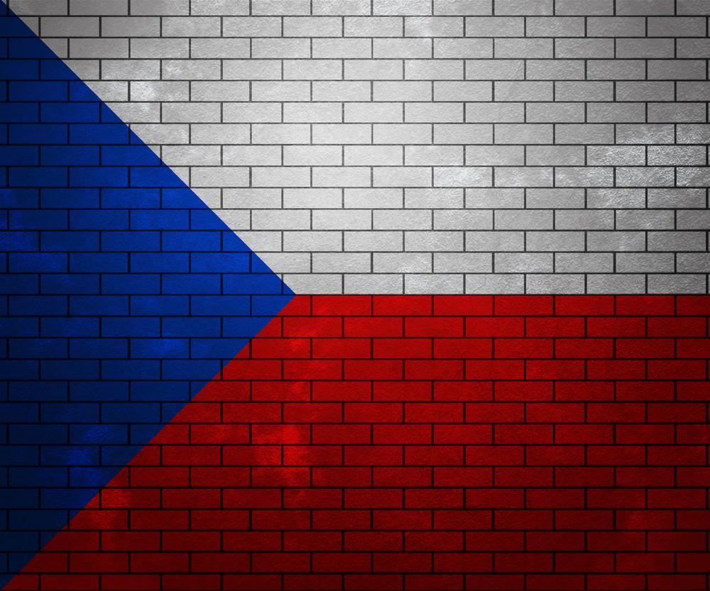 Flag Of Czech Republic On Brick Wall