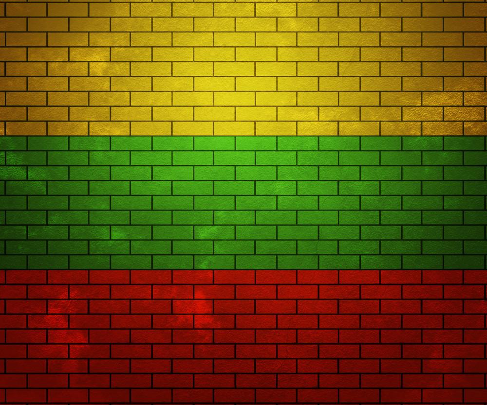 Flag Of Lithuania On Brick Wall