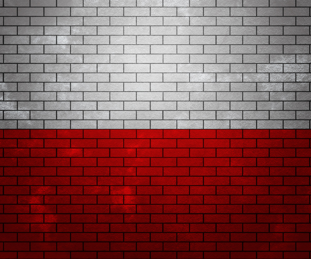 Flag Of Poland On Brick Wall