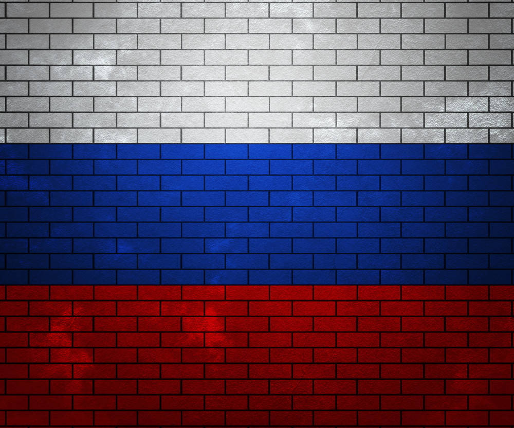 Flag Of Russia On Brick Wall