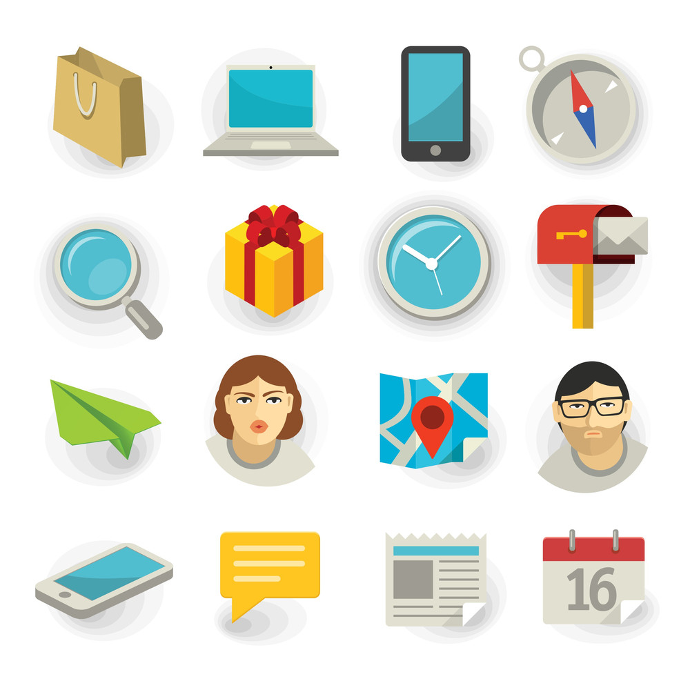 Flat Icon Vector Set For Web And Mobile Application.