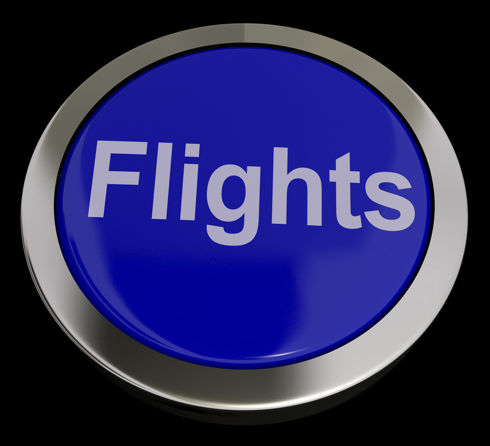 Flights Button In Blue For Overseas Vacation Or Holiday
