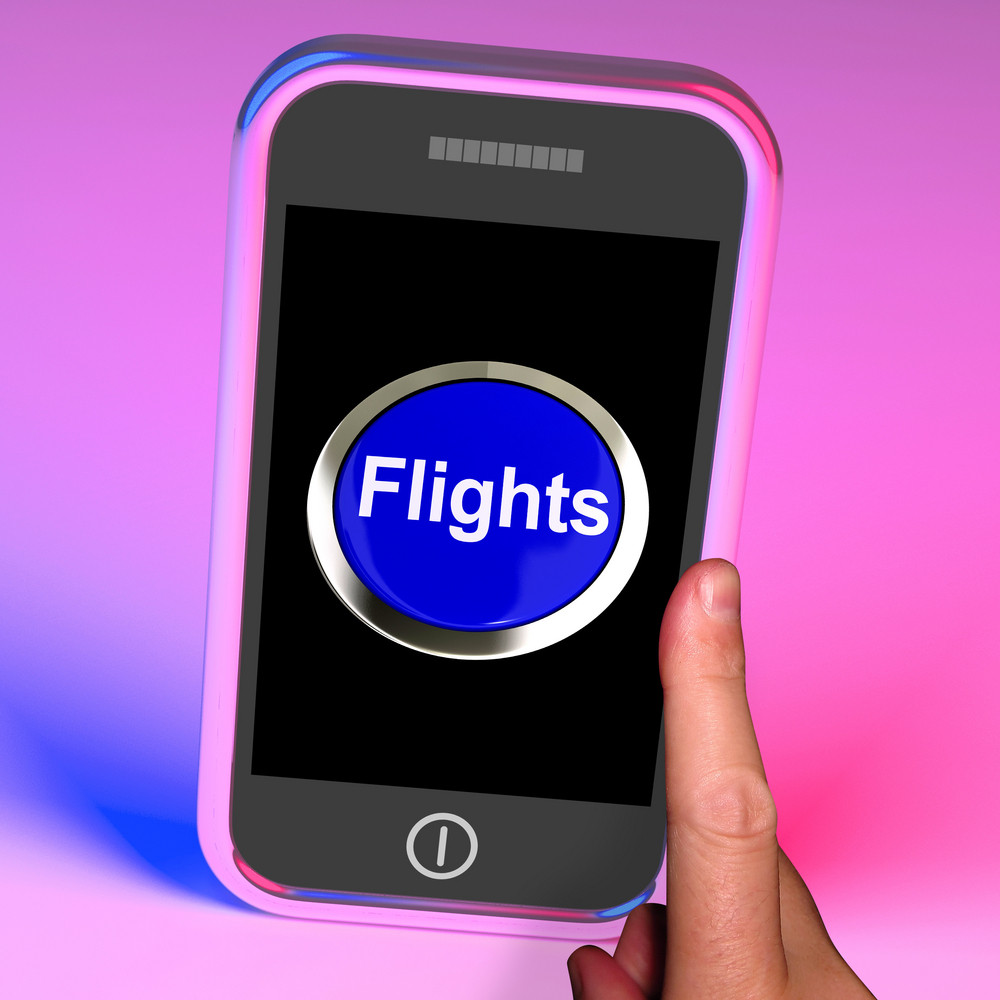 Flights Button On Mobile Shows Overseas Vacation Or Holiday