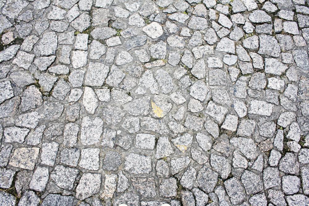 Floor of granite paving stone