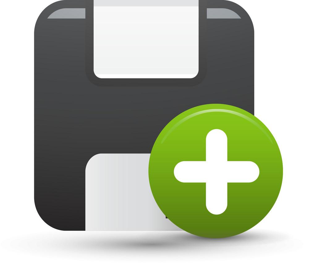 Floppy Disk Add Lite Computer Icon