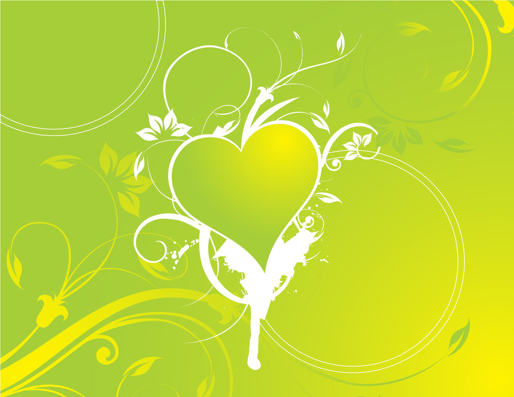 Floral And Heart On Green Background
