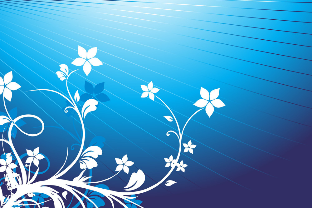 Floral Background Blue Vector Wallpaper Royalty Free Stock