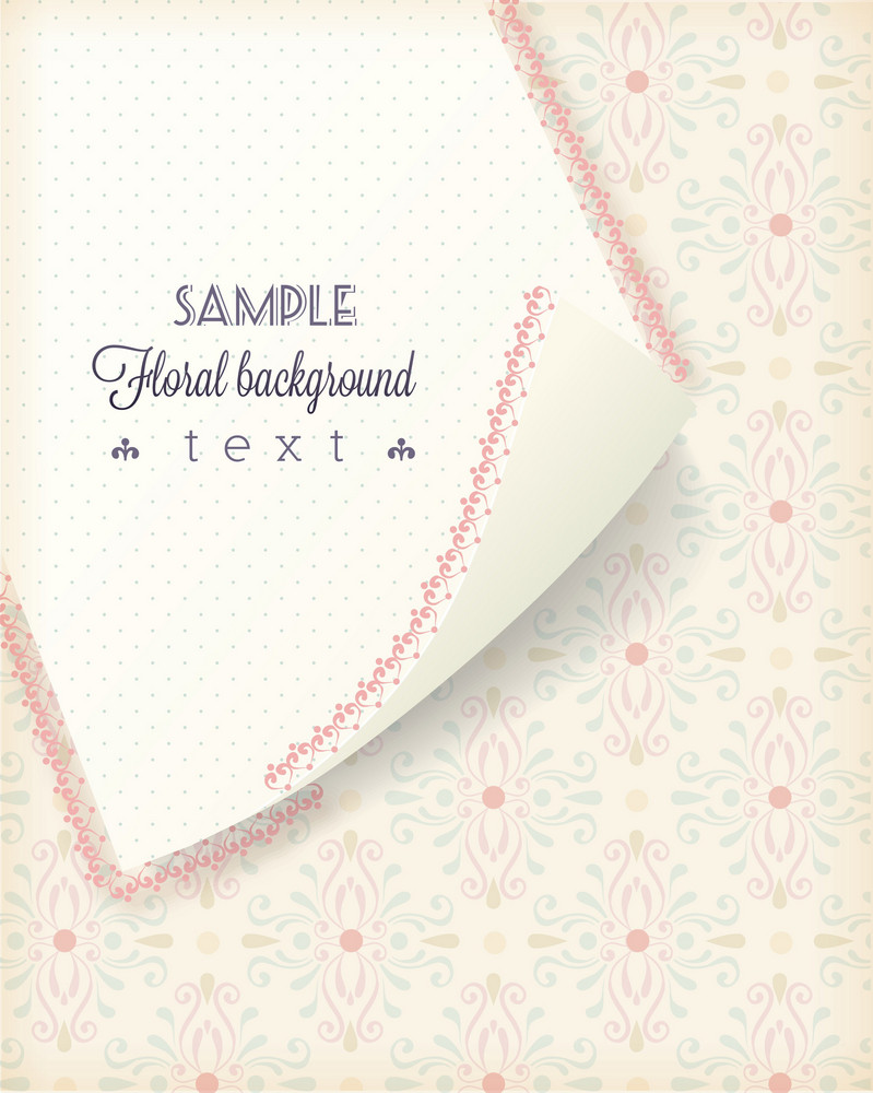 Floral Background Vector Illustration With Curly Paper