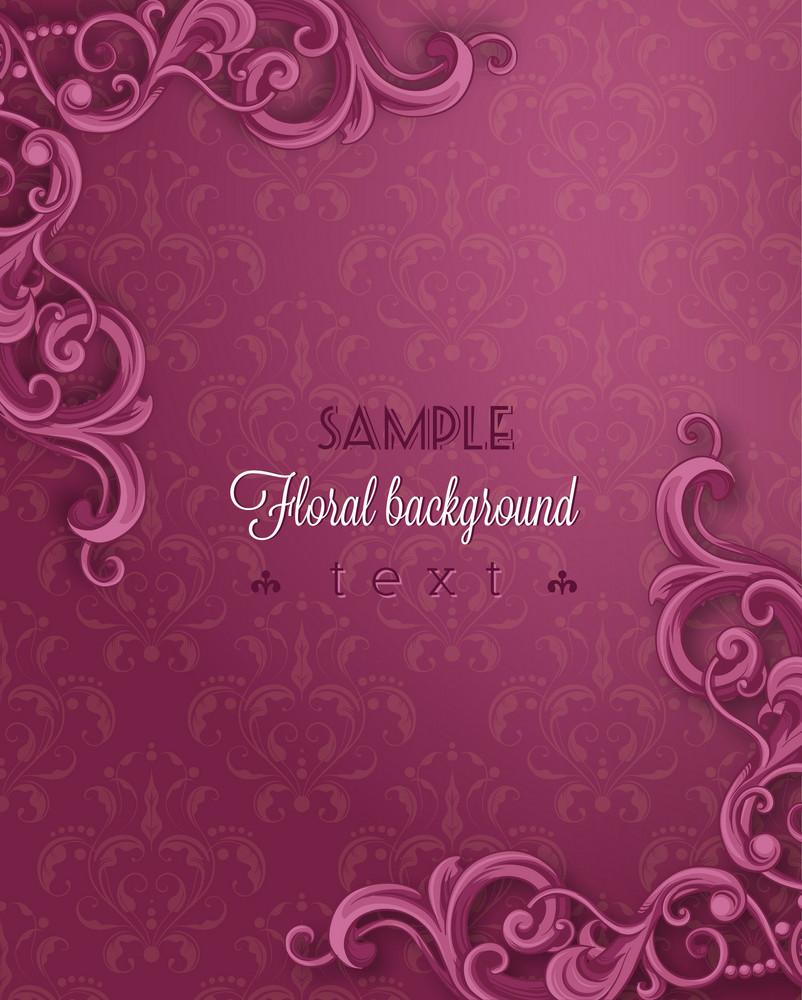 Floral Background Vector Illustration With Floral Vintage Frame