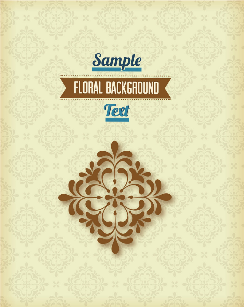 Floral Background Vector Illustration With Retro Ribbon