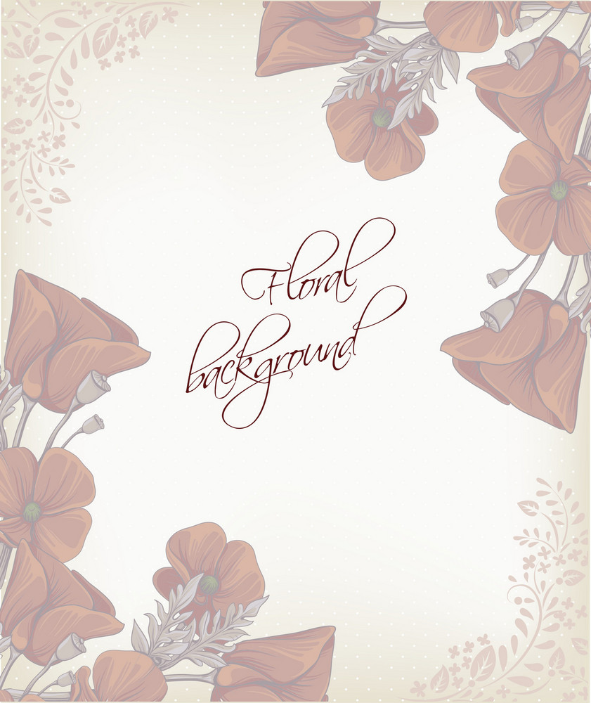 Floral Background Vector Illustration With Spring Flowers And Frame
