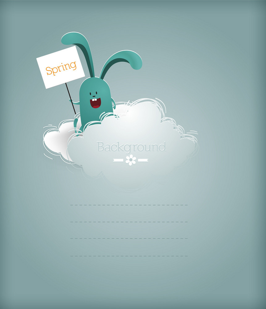 Floral Background Vector Illustration With Sticker Cloud And Easter Bunny